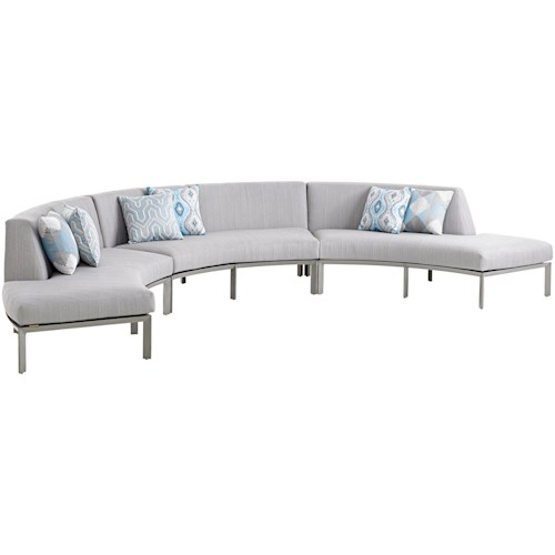 Tommy Bahama Outdoor Living Del Mar Three Piece Curved Sectional Sofa