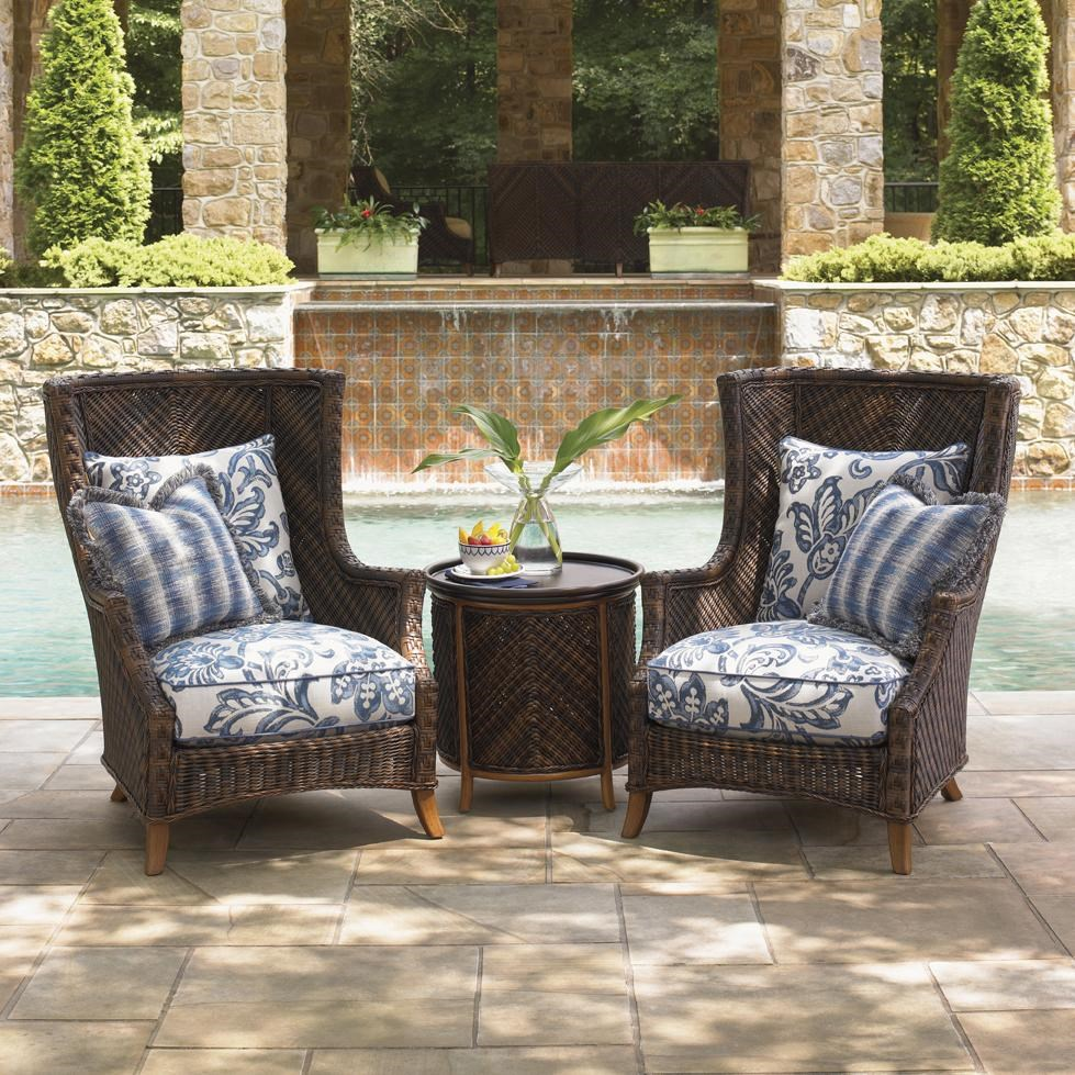 Tommy Bahama Outdoor Living Island Estate Lanai Two Wing Back Chairs With  Tray End Table