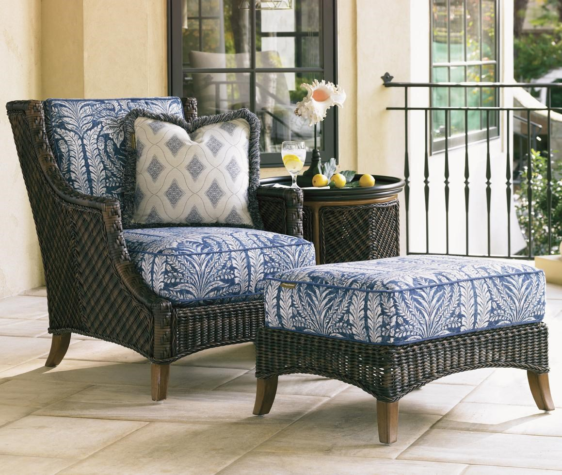 Tommy Bahama Outdoor Living Island Estate Lanai Outdoor Woven Wicker Lounge  Chair U0026 Ottoman With Throw Pillow   Baeru0027s Furniture   Outdoor Chair And  Ottoman ...