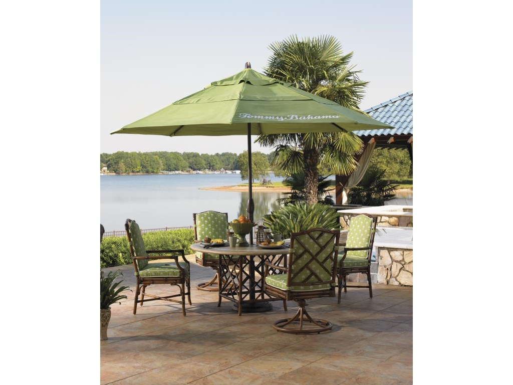 Shown with Swivel Rocker Dining Chair, Round Dining Table, and Ginko Umbrella