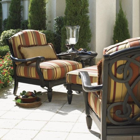 2 Lounge Chairs with Ottoman & Table Set