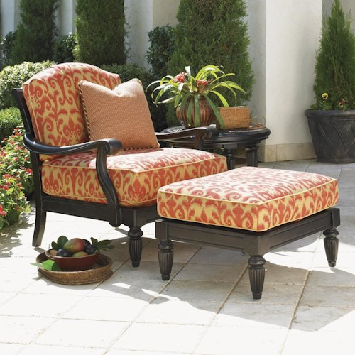 Tommy Bahama Outdoor Living Kingstown Sedona Lounge Chair and Ottoman with Turned Legs
