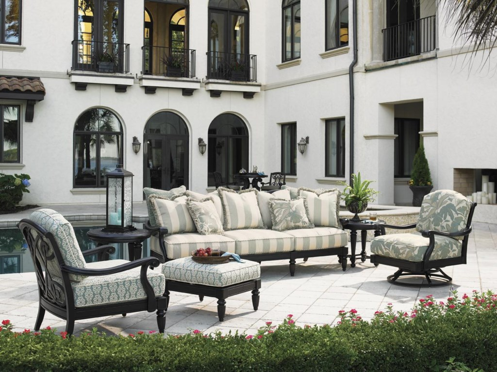 Shown with Scatterback Sofa, Round End Table, Lounge Chair, and Ottoman