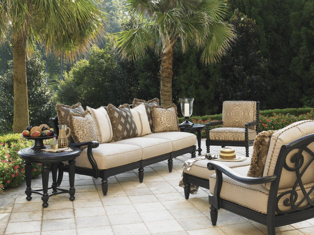 Shown with Round End Table, Lounge Chairs, and Ottoman