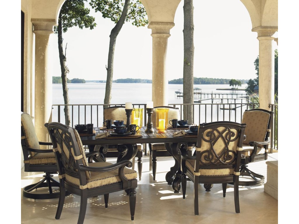 Tommy Bahama Outdoor Living Kingstown Sedona7 Piece Dining Set with Cast Rect. Table