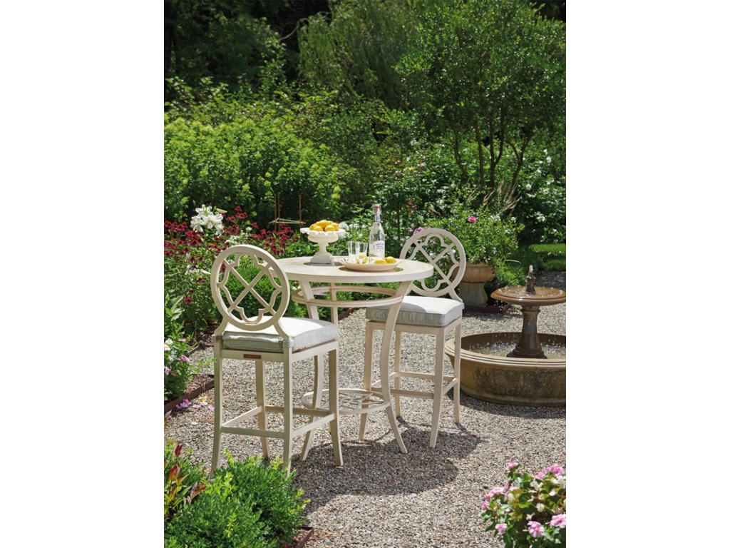 Tommy Bahama Outdoor Living Misty Garden3 Pc High/Low Bistro Table w/ Bar Stools