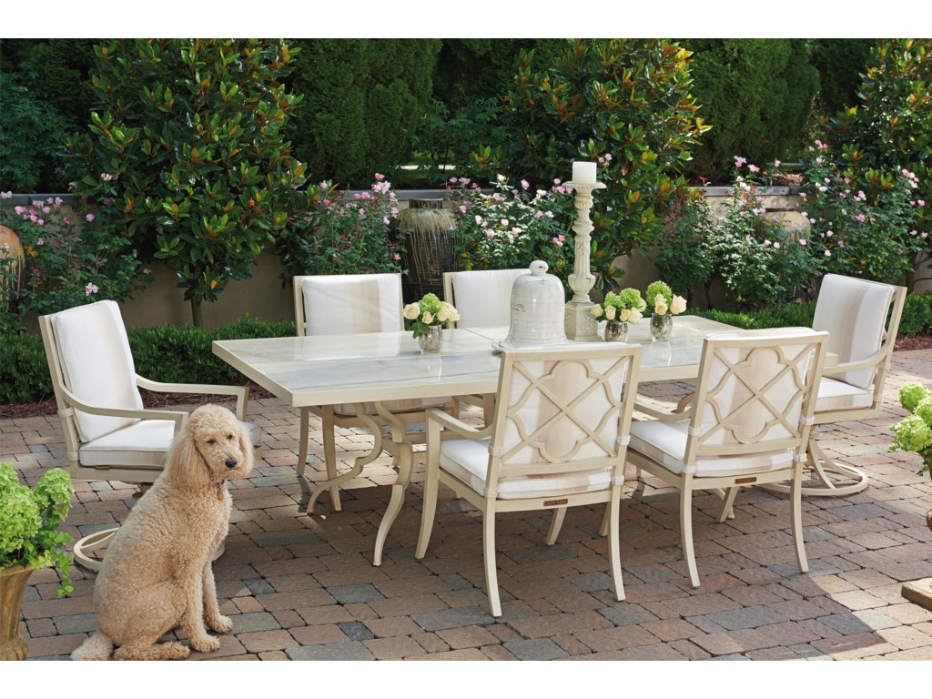 Tommy Bahama Outdoor Living Misty Garden7 Pc Dining Set w/ Swivel Host Chairs