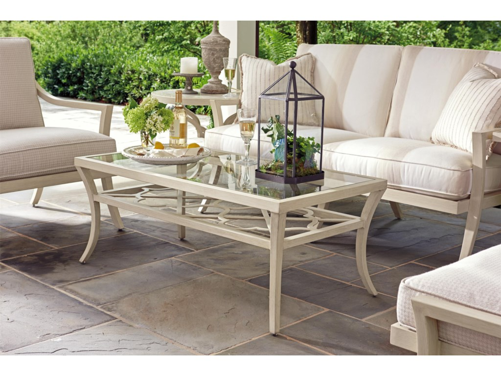 Tommy Bahama Outdoor Living Misty GardenRectangular Cocktail Table with Inset Glass