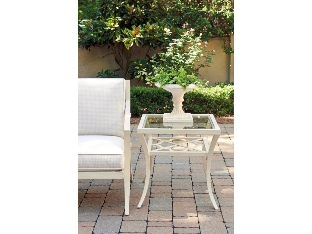 Tommy Bahama Outdoor Living Misty GardenSquare End Table with Inset Glass Top