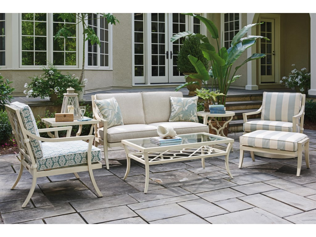 Tommy Bahama Outdoor Living Misty GardenSquare End Table w/ Porcelain Top