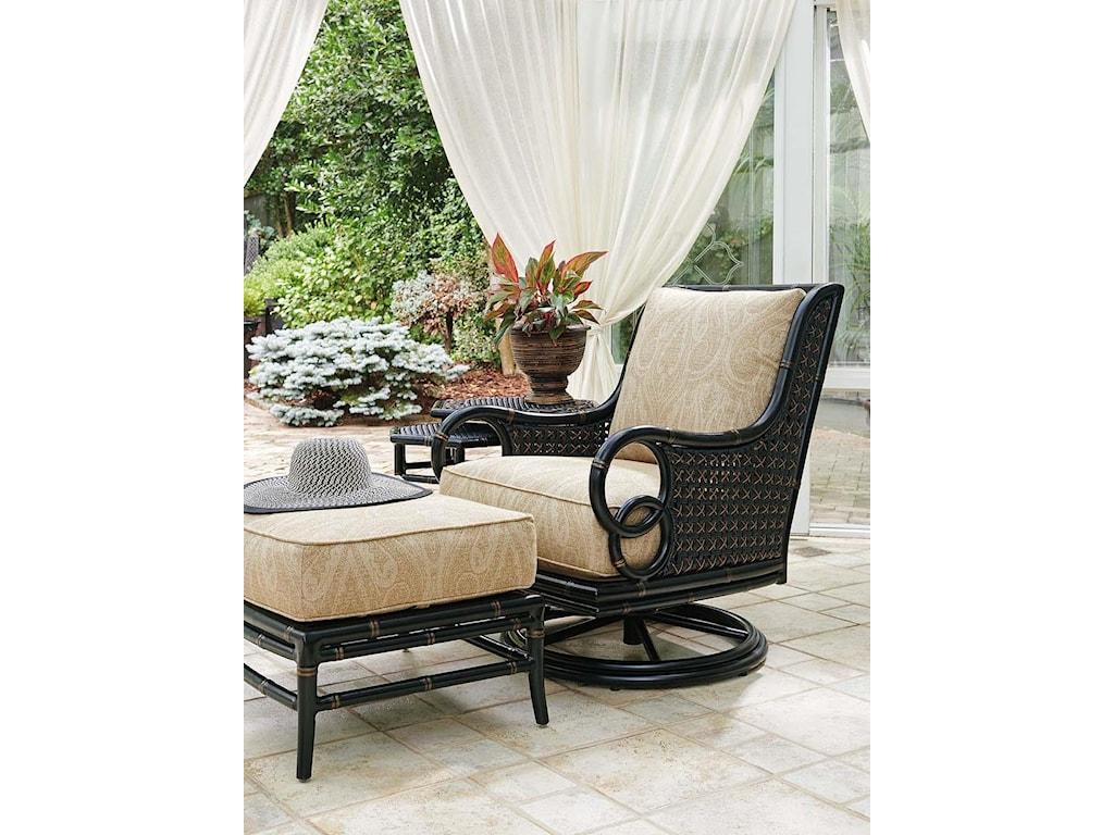 Tommy Bahama Outdoor Living MarimbaSwivel Rocker Lounge Chair and Ottoman