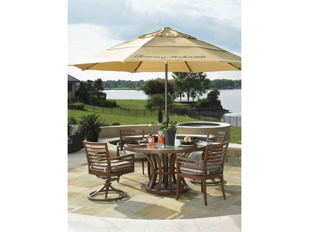 Shown with Outdoor Round Dining Table, Dining Arm Chair and Umbrella