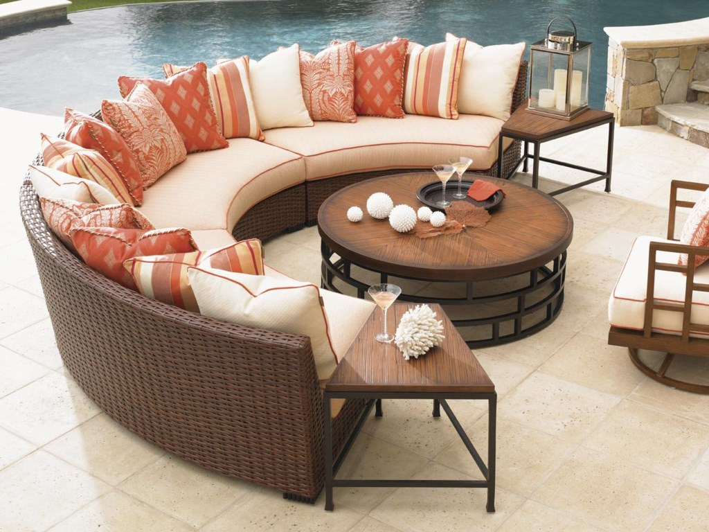 Shown with Curved Armless Sofas and Ocean Club Resort Cocktail Table