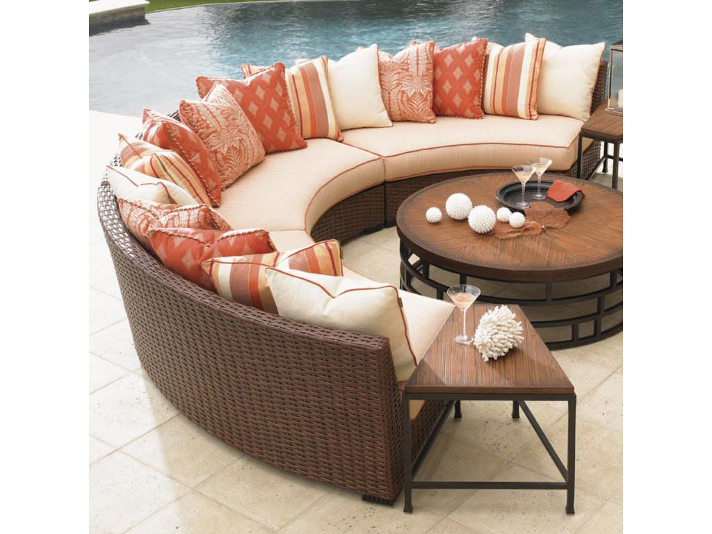 Tommy Bahama Outdoor Living Ocean Club Pacifica3 Piece Armless Curved Sectional Sofa