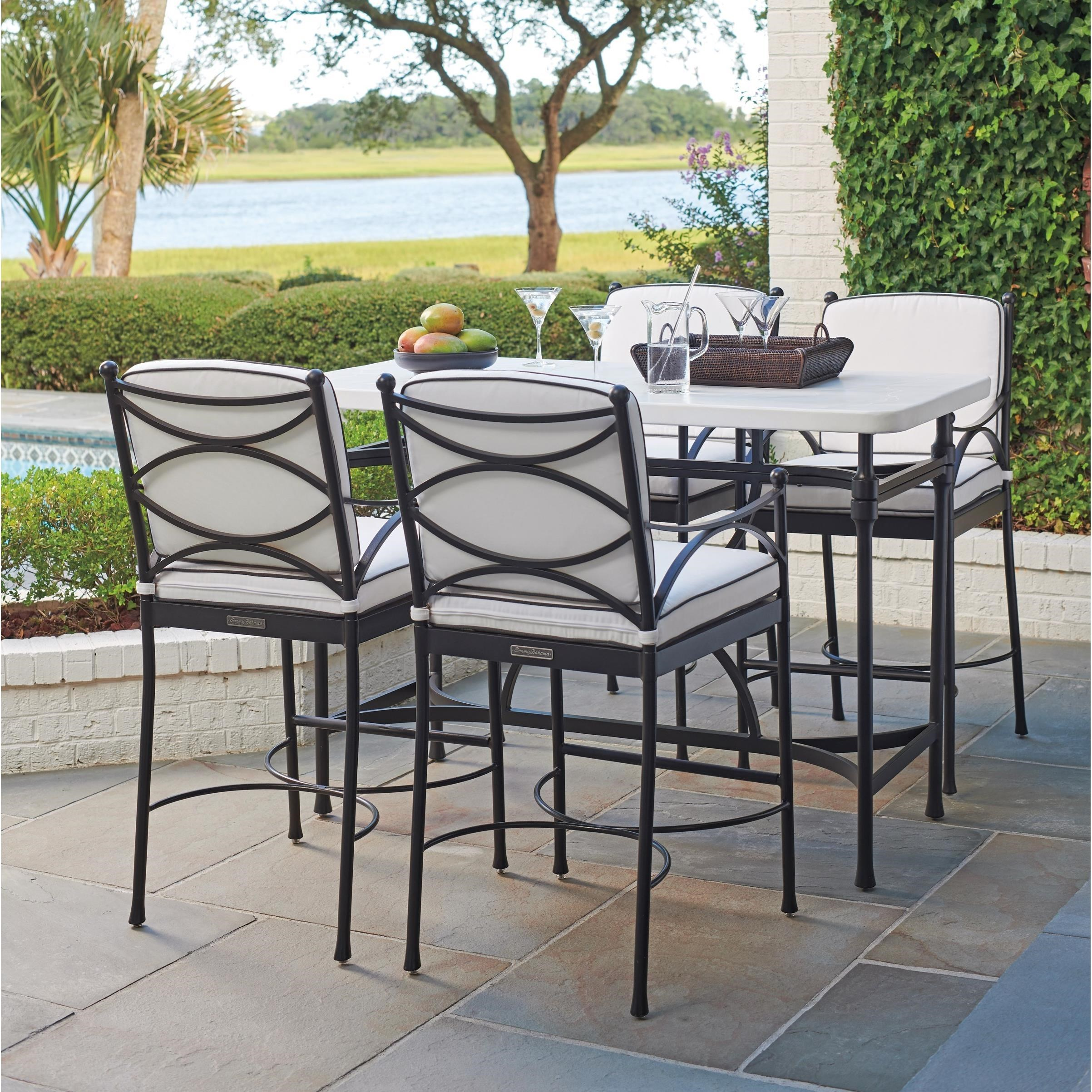 Tommy Bahama Outdoor Living Pavlova 5 Piece Outdoor Hi/Lo Bistro Table And  Bar Stool Set
