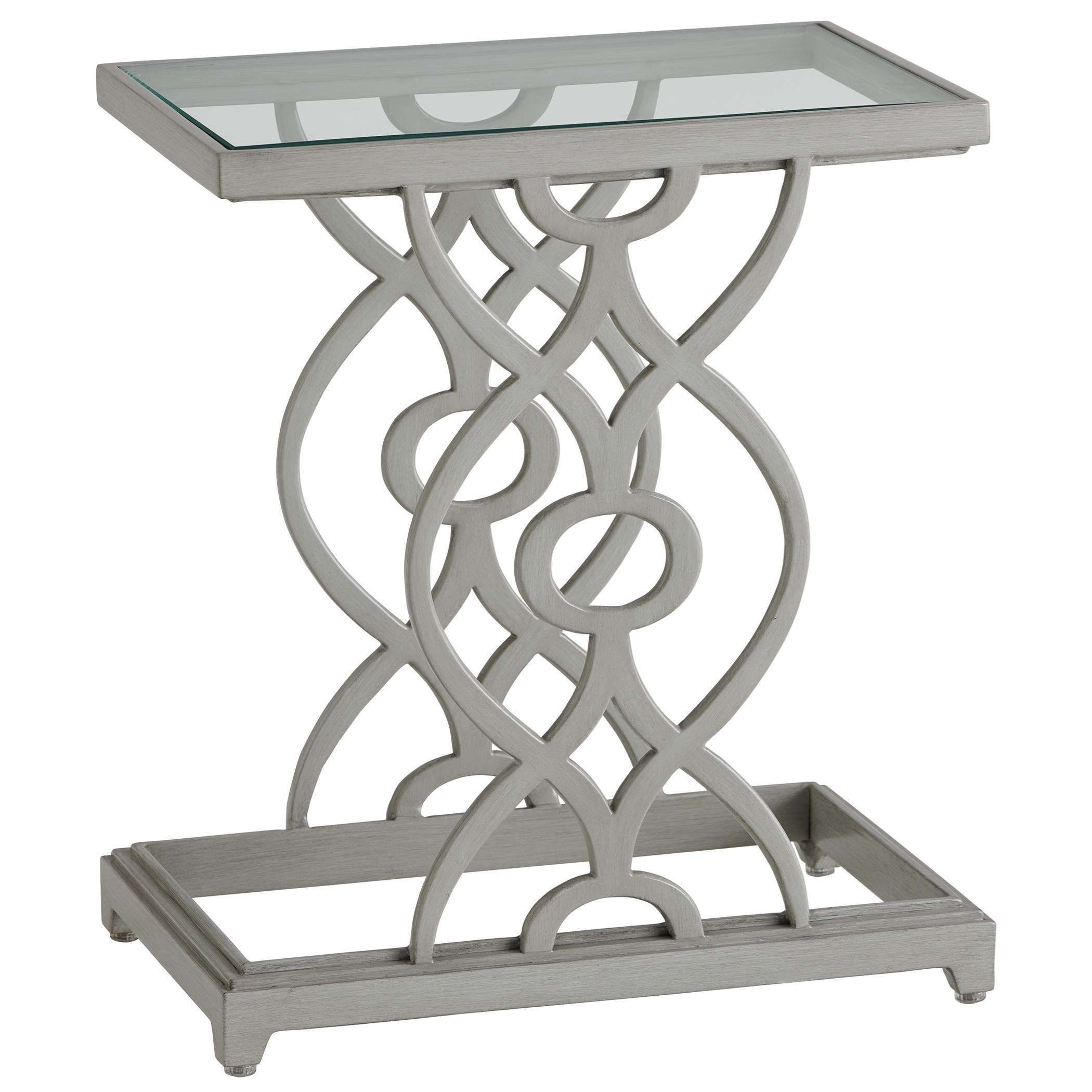 Transitional Outdoor Accent Table with Glass Top