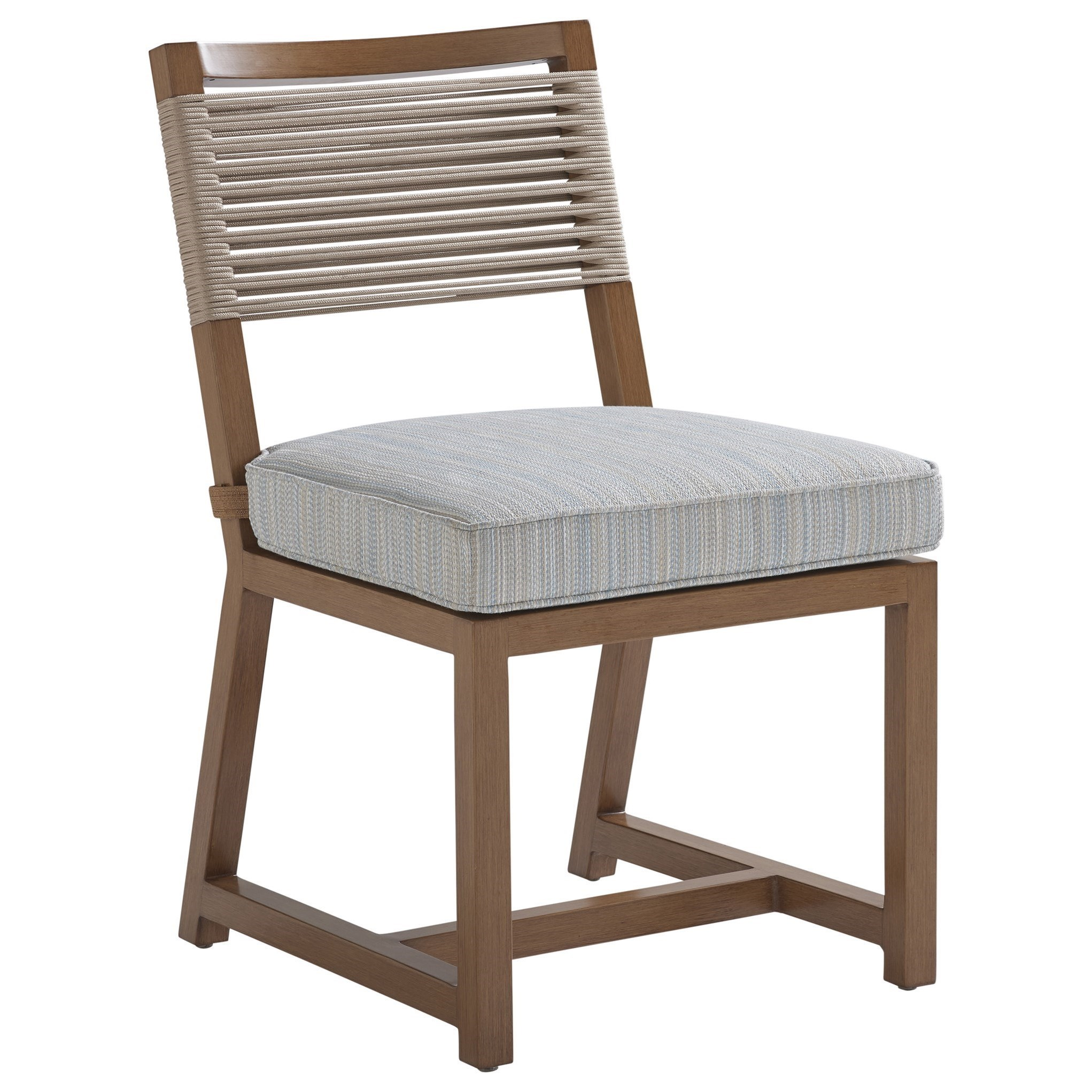 Contemporary Outdoor Dining Side Chair with Lanyard Cording