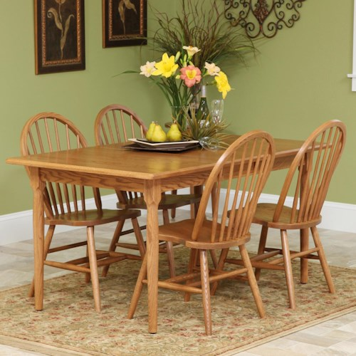 Rotmans Amish Americana Rectangular Solid Wood Table & 4 Spindle-Back Side Chairs