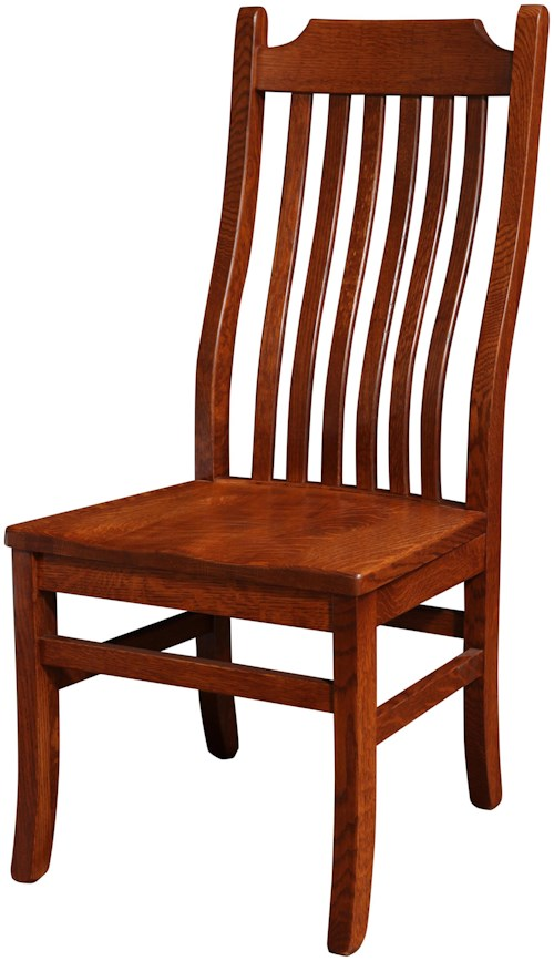 Rotmans Amish Copper Canyon Solid Wood Dining Side Chair with Waved Slat Back