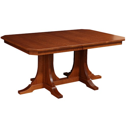 Rotmans Amish Copper Canyon Rectangular Solid Wood Dining Table with a Double Pedestal Base