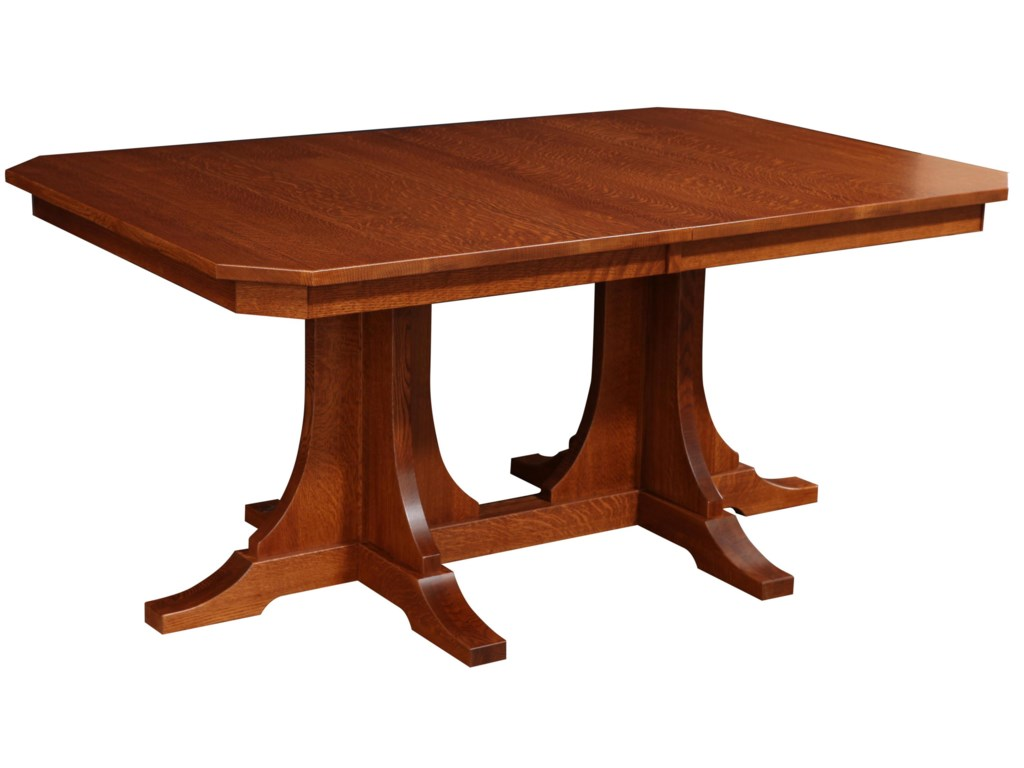 Rotmans Amish Copper Canyon Rectangular Solid Wood Dining Table With - Solid oak double pedestal dining table