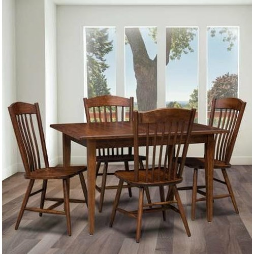 Trailway wood freeport 5 piece solid wood dining table set for 5 foot dining room table