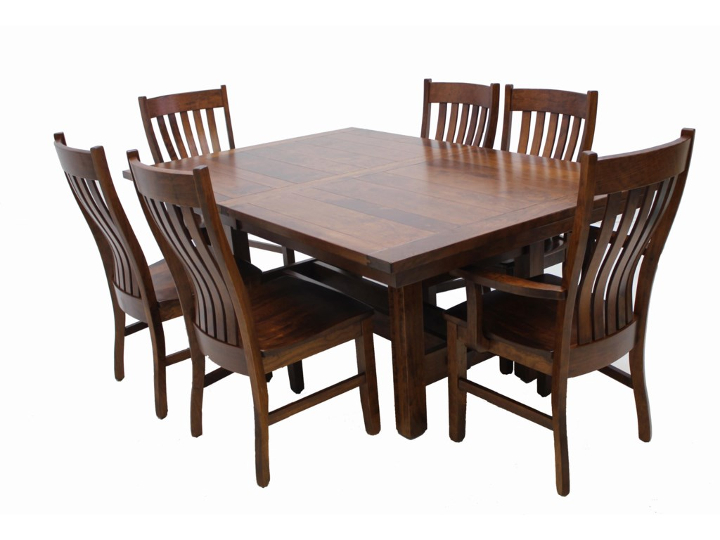 trailway wood stm 7 pc dining set includes table 4 side and 2 arm chairs old brick furniture dining 7 or more piece set. beautiful ideas. Home Design Ideas