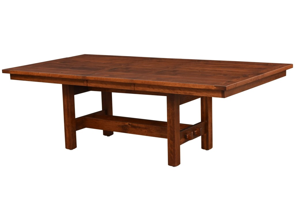 Rotmans Amish Sutter Mills X Trestle Dining Table With Leaf - 72 trestle dining table