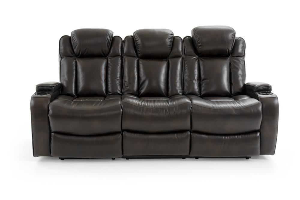 Dual Power Sofa with Power Headrests and Drop-Down Table