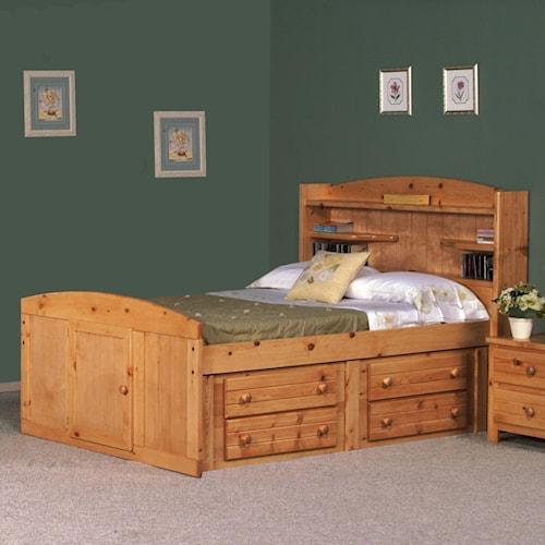 Trendwood Bayview Full Palomino Bed W/ Four Drawer Storage