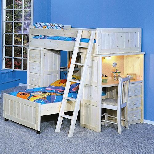 Trendwood Bayview Twin Twin Roundup Modular Loft Bed Furniture