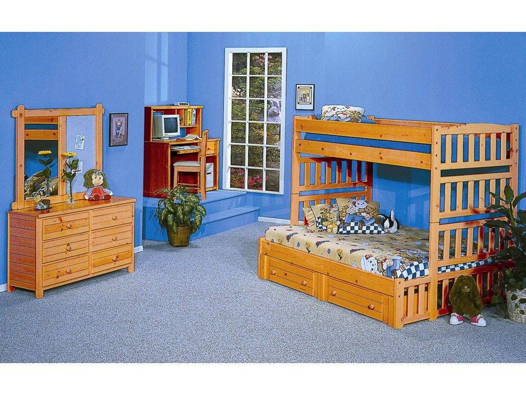 Shown with Computer Desk with Hutch, Arch Twin/Full Bunk Bed, Dresser, and Landscape Mirror