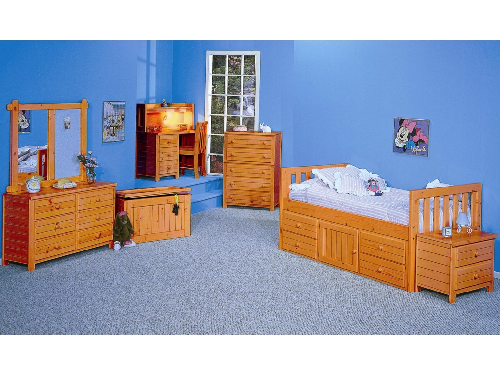 Shown with Student Desk with Hutch, Captain's Bed, Nightstand, Chest, Toy Box, Dresser, and Landscape Mirror