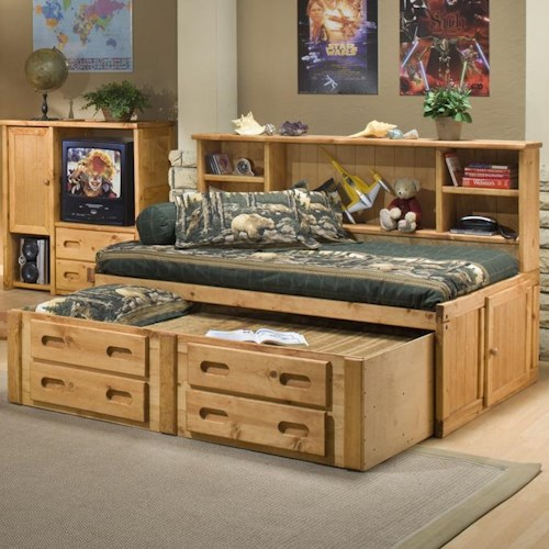 Trendwood Bunkhouse Twin Cheyenne Bookcase Bed with Trundle
