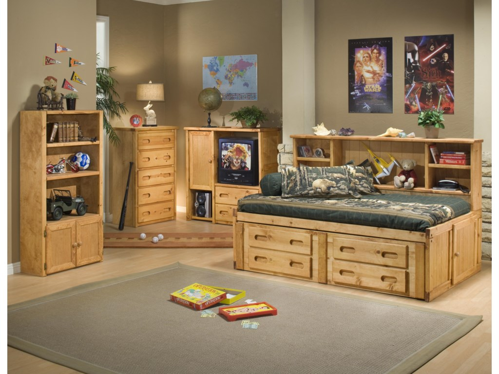 Trendwood BunkhouseTwin Cheyenne Bookcase Bed with Trundle