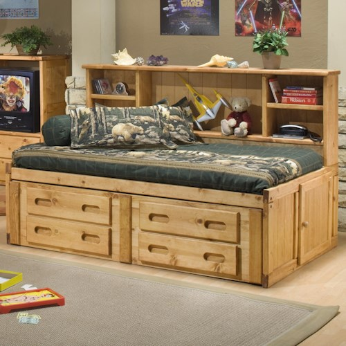 Trendwood Bunkhouse Twin Cheyenne Captain's Bed with Underdresser