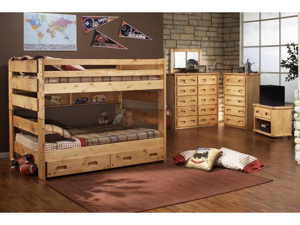 Shown in Room Setting with 10 Drawer Chest with Vertical Mirror, 5 Drawer Chest and Entertainment Cart