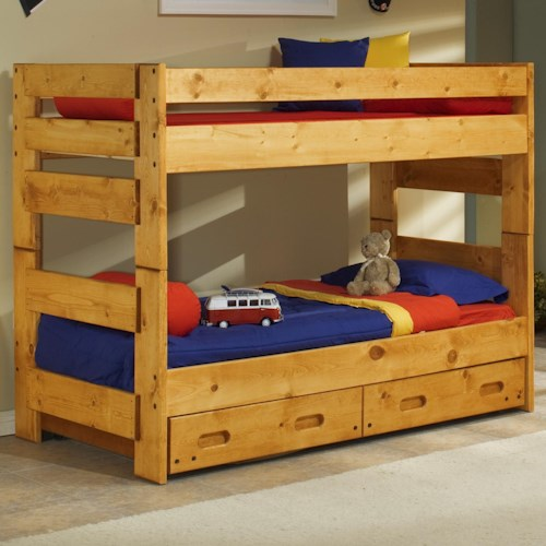 Trendwood Bunkhouse Twin/Twin Wrangler Bunk Bed with Storage