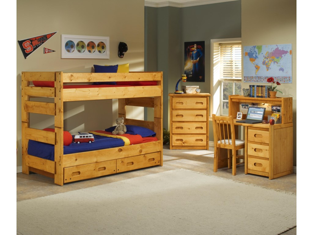 Bunk with Underdresser shown with 4 Drawer Chest, Desk, Hutch, and Desk Chair