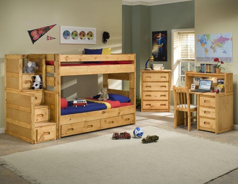 Shown with Stairway Chest, 2 Drawer Underdresser, 4 Drawer Chest, Desk, Hutch, and Desk Chair