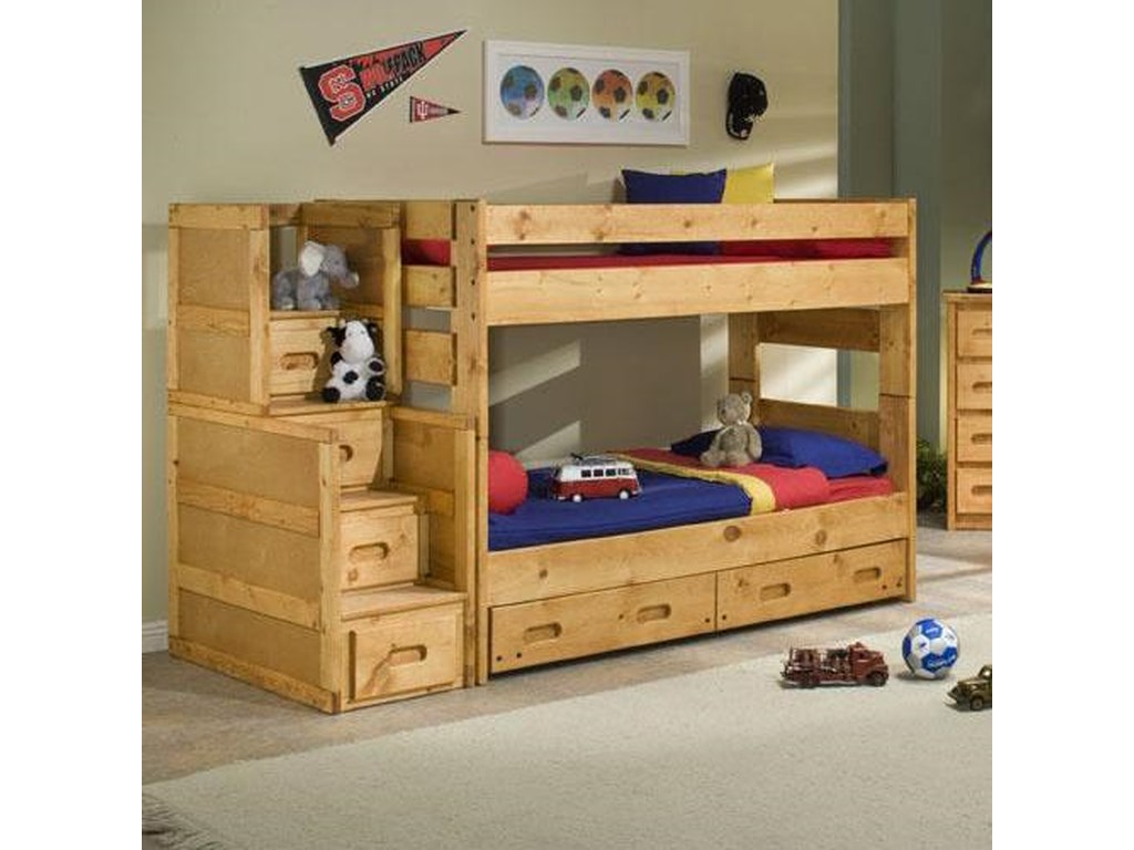 Trendwood Bunkhouse Twin Over Twin Wrangler Staircase Bunk Bed With Trundle Conlin S Furniture Bunk Beds