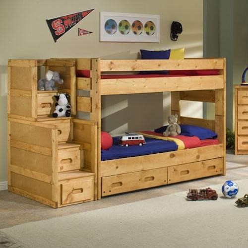 Trendwood Bunkhouse Twin Over Twin Wrangler Staircase Bunk Bed with Storage