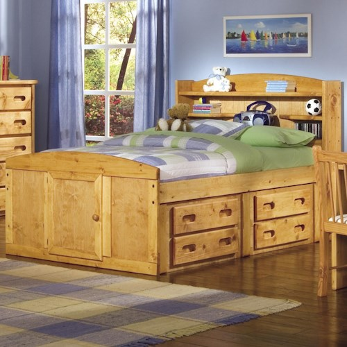 Trendwood Bunkhouse Twin Bookcase Headboard Captains Bed