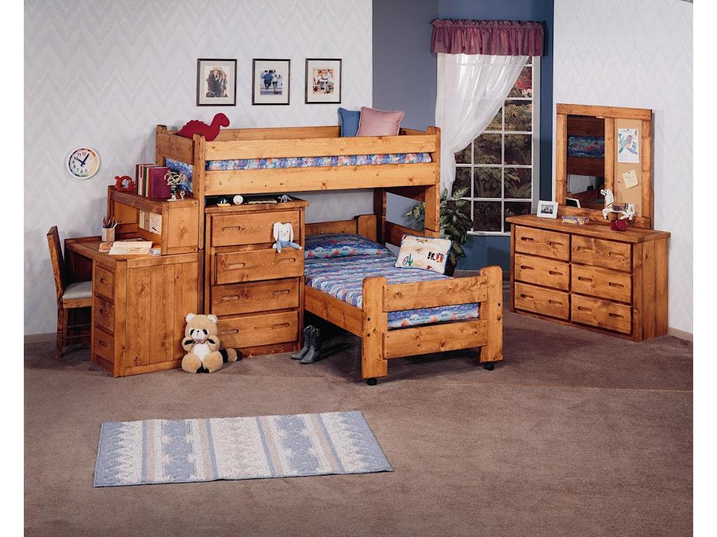 Trendwood BunkhouseTwin/Twin Apache Loft Bed & Caster Bed