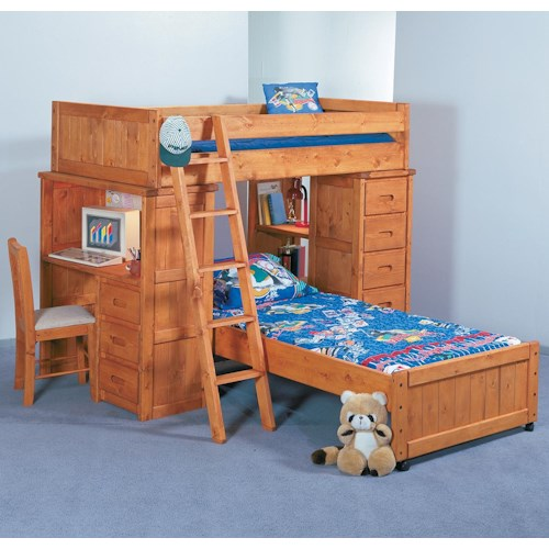 Trendwood Bunkhouse Twin/Twin Roundup Modular Loft Bed with Desk and Chest Units