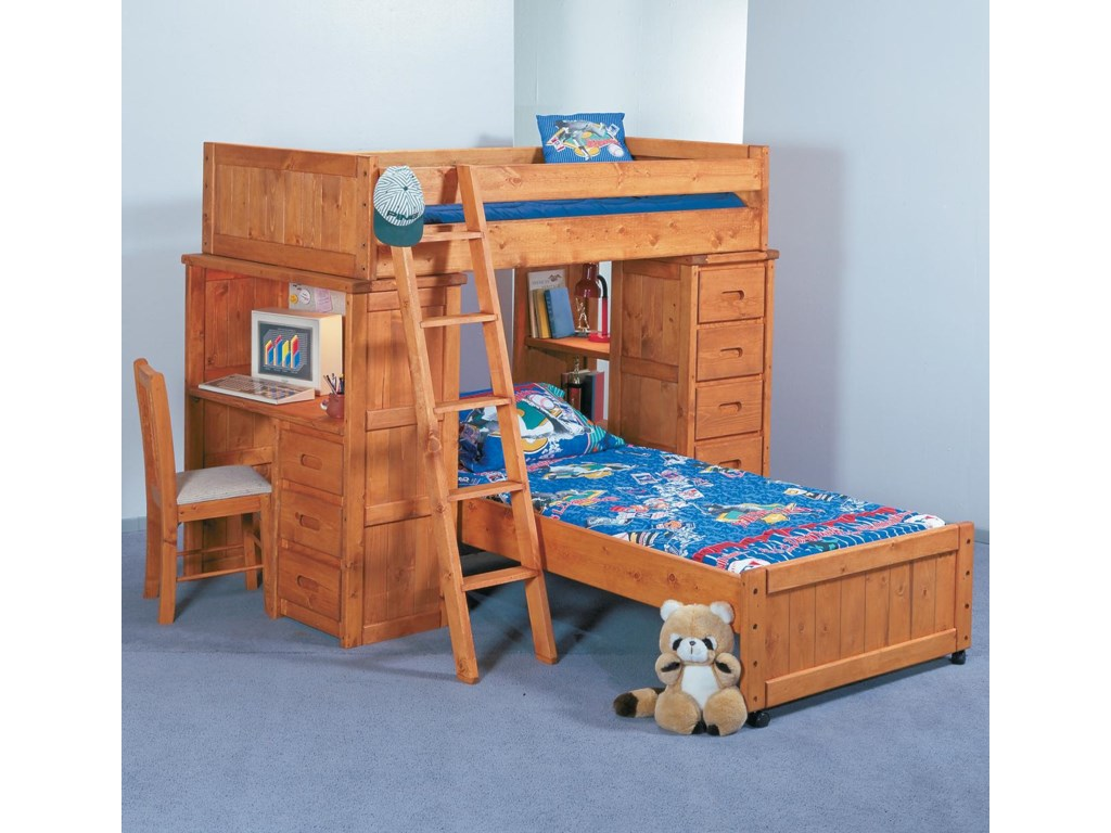 Trendwood Bunkhouse Twin Twin Roundup Modular Loft Bed With Desk And