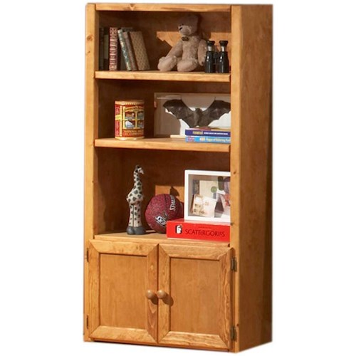 Trendwood Bunkhouse Universal Bookcase with 3 Shelves & 2 Doors