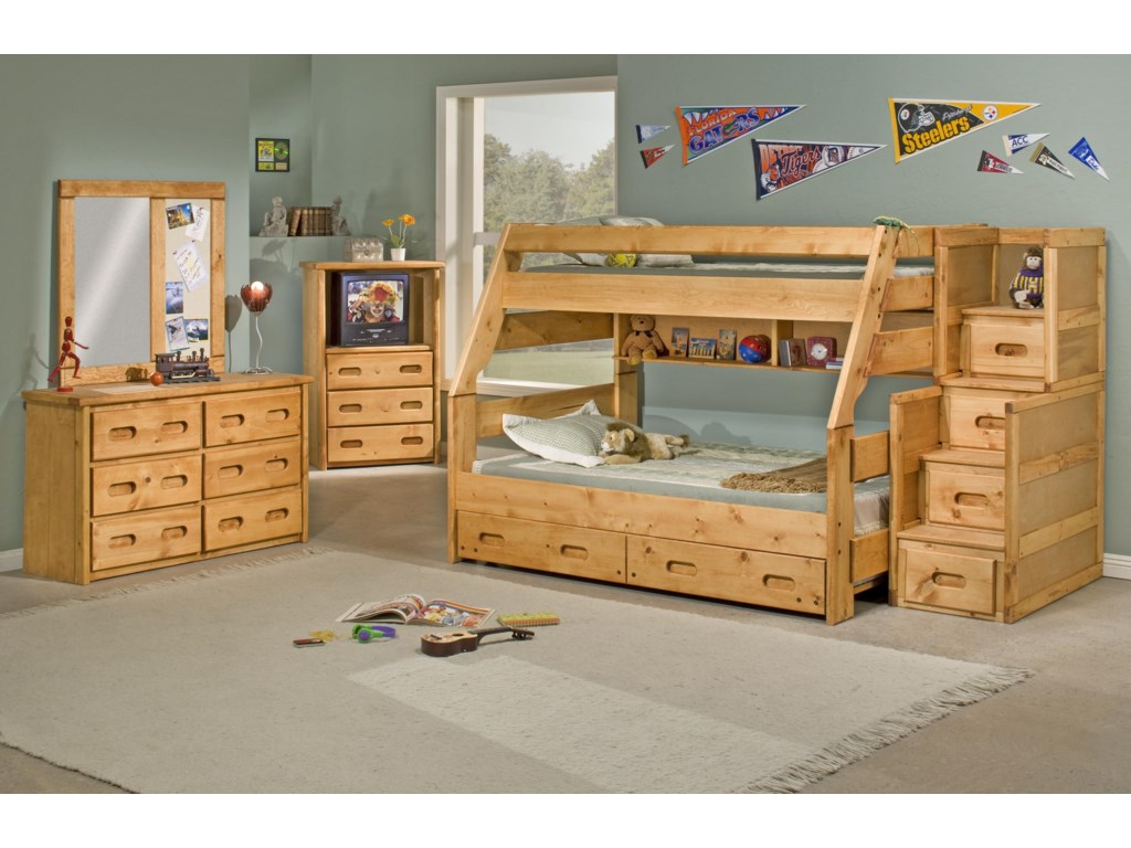 Trendwood Bunkhouse6 Drawer Dresser & Landscape Mirror