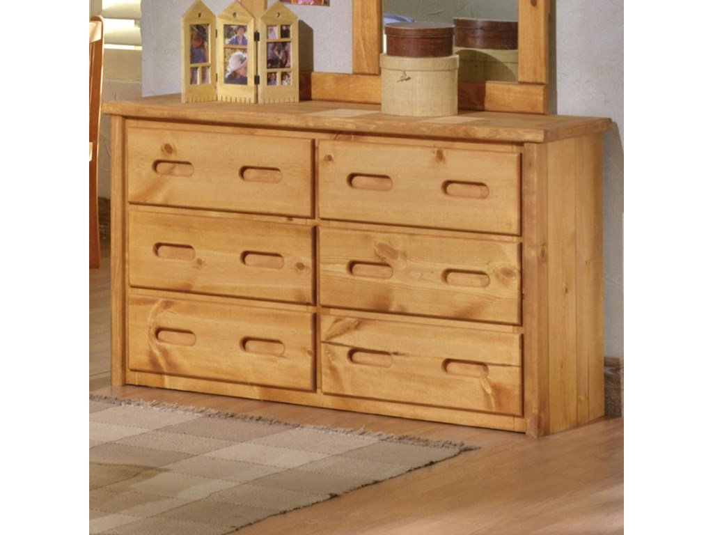 Trendwood Bunkhouse 6 Drawer Pine Dresser With Carved Handles Dunk Bright Furniture Dressers