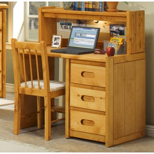 Trendwood Bunkhouse Single Pedestal Student Desk with Corral Hutch